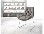 Chaise de salle à manger Taimi Flex gris vintage cadre patin acier inoxydable