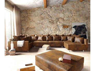 Canapé panoramique  Clovis XL modulable marron antique tabouret accoudoir