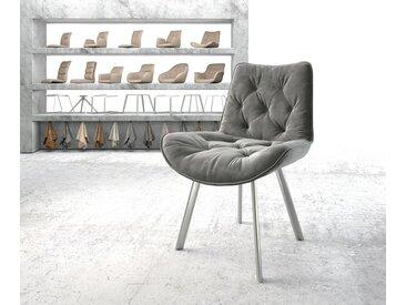 Chaise de salle à manger Taimi Flex gris velours 4 pieds ovale acier inoxydable