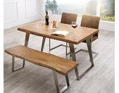 Table à manger Edge 140x90 XL acacia nature acier inoxydable incliné Live Edge
