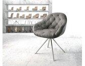Chaise pivotante Gaio Flex gris vintage cadre croisé rond acier inoxydable