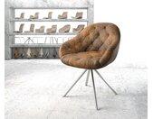 Chaise pivotante Gaio Flex marron vintage cadre croisé rond acier inoxydable