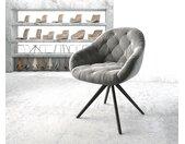 Chaise pivotante Gaio Flex gris velours cadre croisé carré noir