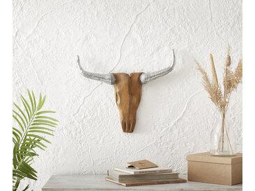 Tête de vache bois décoratifs 53x43 cm teck nature corne d'aluminium unique