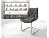 Chaise de salle à manger Taimi Flex anthracite structure cantilever rond acier inoxydable