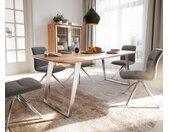 Table à manger Edge forme Boot 200x100 acacia nature acier inoxydable incliné bord suisse