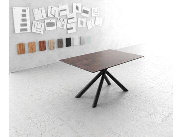 Table à manger Edge 140x90cm verre Antique marron pieds milieu croisé rond noir