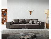 Grand canapé Marbeya 285x115 cm marron kaki avec 10 coussins Canapé XXL