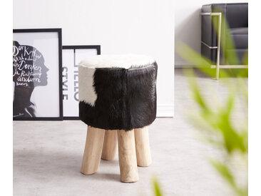 Tabouret Koza 30x30 cm peau de chèvre Noir Blanc Bois Teck