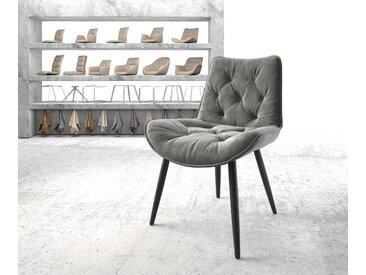 Chaise de salle à manger Taimi Flex gris velours 4 pieds conique noir