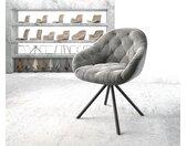 Chaise pivotante Gaio Flex gris velours cadre croisé rond noir