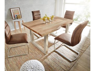 Table à manger Edge 140x90 acacia nature acier inoxydable large Live Edge