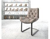 Chaise de salle à manger Taimi Flex taupe vintage cantilever plat noir