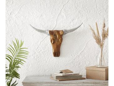 Tête de vache 63x40 cm teck naturel corne d'aluminium unique