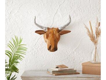 Tête de chèvre bois 48x46cm teck nature corne aluminium unique