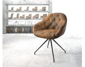 Chaise pivotante Gaio Flex marron vintage cadre croisé conique noir