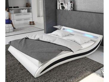 Lit rembourré Adonia 140x200 cm blanc noir avec LED