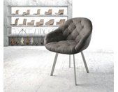 Fauteuil Gaio Flex anthracite vintage 4 pieds ovale acier inoxydable
