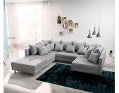 Canapé panoramique modulable Clovis gris salon tissu plat tabouret