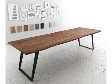Table à manger Edge 300x100 acacia marron métal incliné Live Edge
