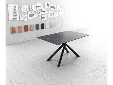 Table à manger Edge 140x90cm Laminam® céramique gris pieds milieu croisé rond noir