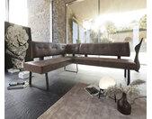 Banc d'angle Yanis 200x160 cm marron vintage métal noir droit