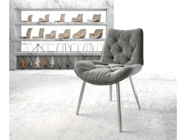 Chaise de salle à manger Taimi Flex gris velours 4 pieds conique acier inoxydable