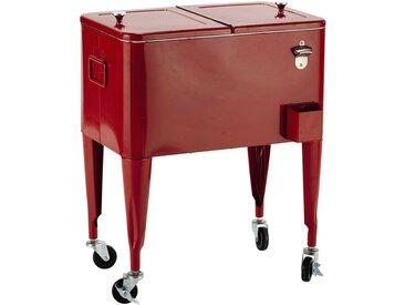 Glacière vintage à roulettes en métal rouge H 77 cm FRESH