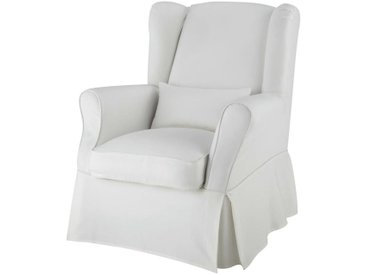 Housse de fauteuil en coton ivoire Cottage