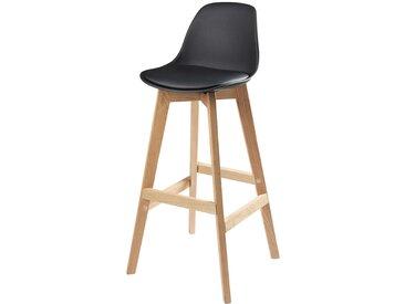 Chaise de bar style scandinave noire et chêne massif Ice