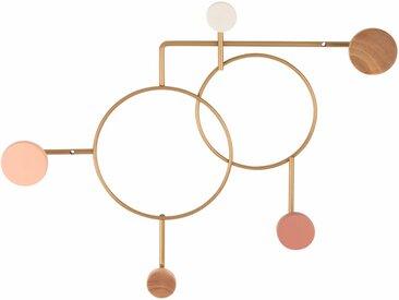 Patère en métal doré 5 crochets en hêtre et hévéa multicolores