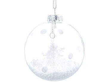 Boule de Noël en verre avec flocon motifs à pois blancs