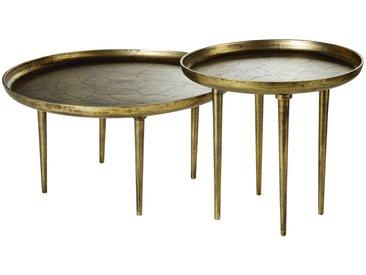 Tables gigognes en métal coloris laiton effet vieilli Kamila