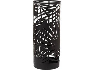 Porte parapluie en métal ajouré noir motifs feuillages