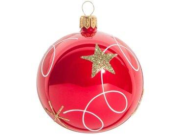Boule de Noël en verre teinté rouge à motifs