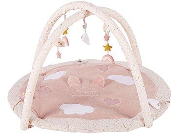 Tapis d'éveil bébé rond en coton rose et doré D90