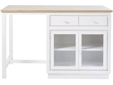 Îlot central cuisine 6 tiroirs 2 portes blanc Embrun