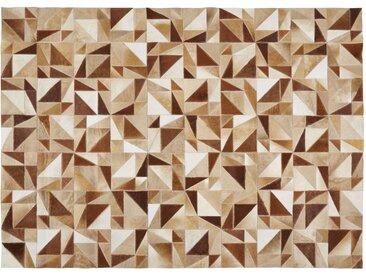 Tapis patchwork en cuir de vache écru et marron 140x200