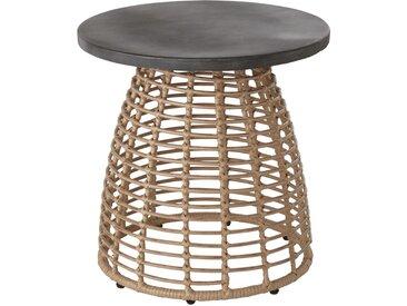 Table basse de jardin ronde grise et résine imitation rotin Diabolo