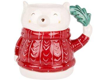 Mug ours en porcelaine blanche et rouge