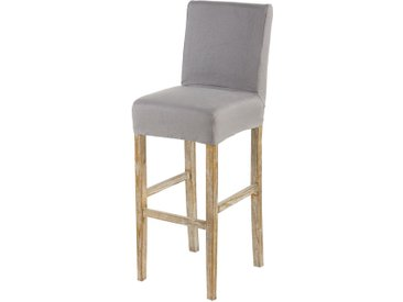 Housse de chaise de bar en lin gris