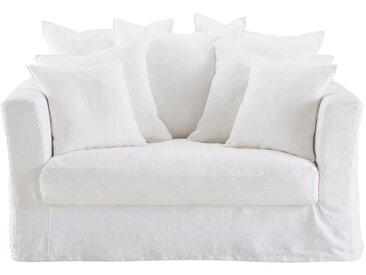 Canapé-lit 1/2 places en lin blanc Bartholomé