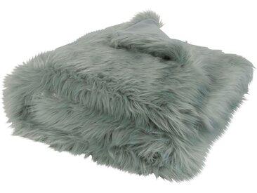 Plaid imitation fourrure bleu gris 125x150