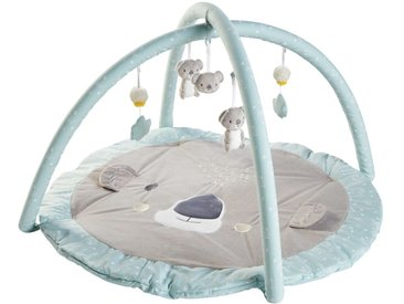 Tapis d'éveil bébé rond en coton gris et bleu D90
