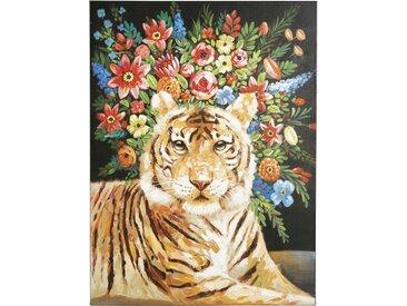 Toile imprimé fleurs et tigre 91x120