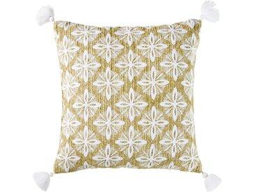 Coussin d'extérieur tressé beige motifs graphiques brodés 45x45