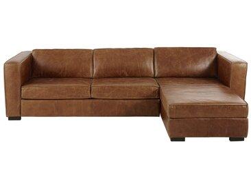 Canapé d'angle droit convertible 4 places en cuir marron Berlin
