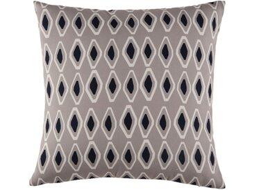 Coussin d'extérieur taupe motifs graphiques bicolores 45x45