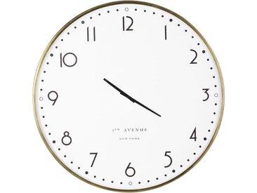 Horloge blanche imprimée et métal doré D77