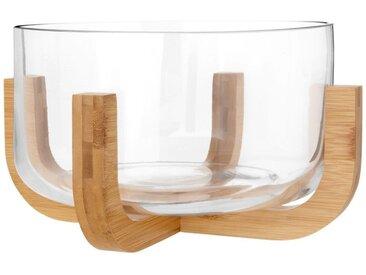 Saladier en verre et socle en bambou